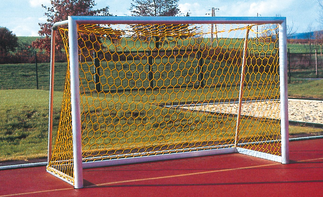 Holzhof SPORTING STRUCTURES Five-a-side goal in natural aluminium, cm 300x200, with netting