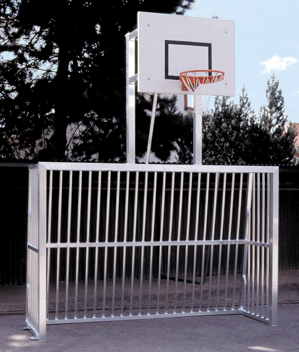 Holzhof SPORTING STRUCTURES Five-a-side goal, cm 8x8 square profile framework + basketball basket with board