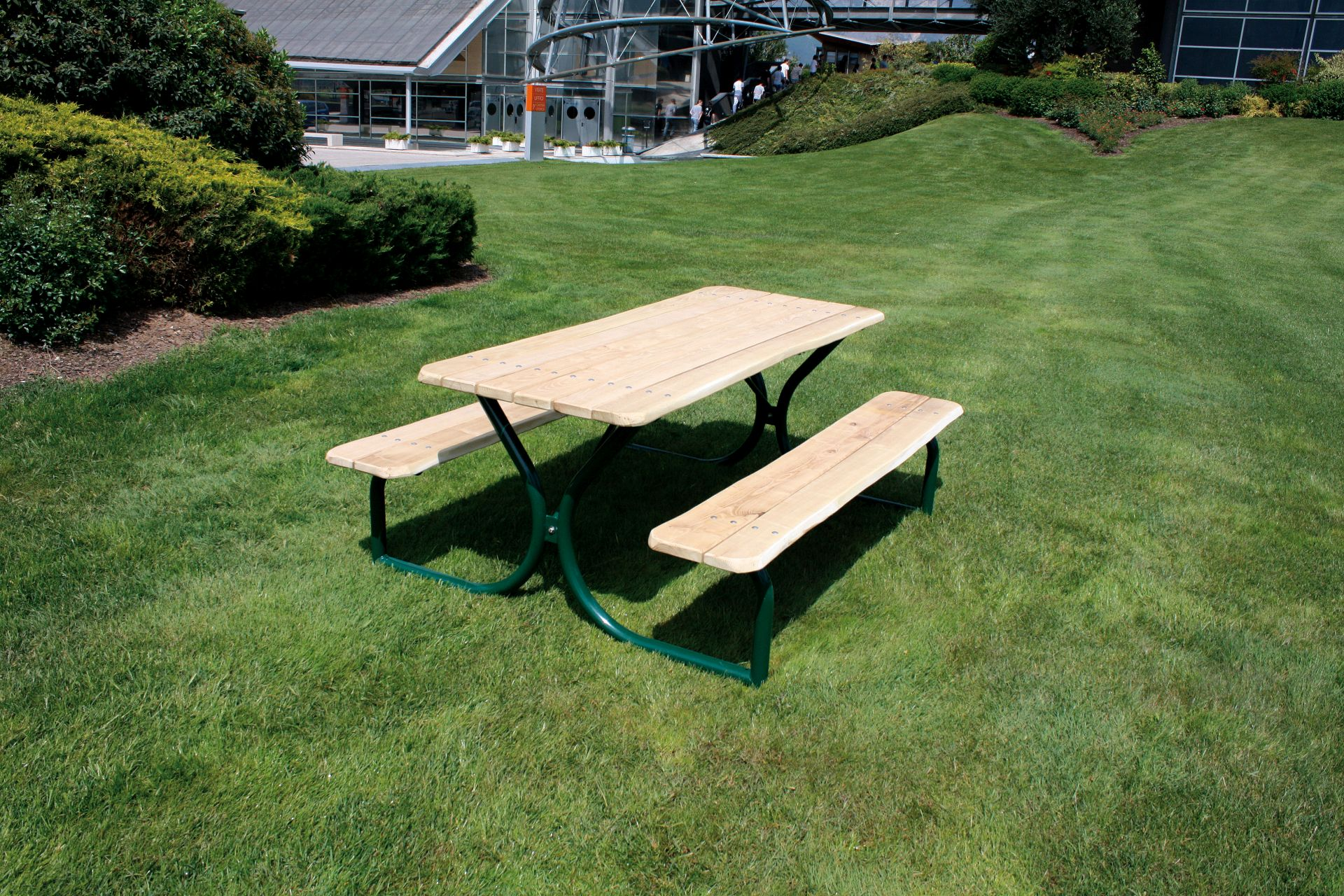 Holzhof COUNTRY (FACILITIES IN ROBINIA WOOD) Table and benches in robinia without backrest, with varnished green