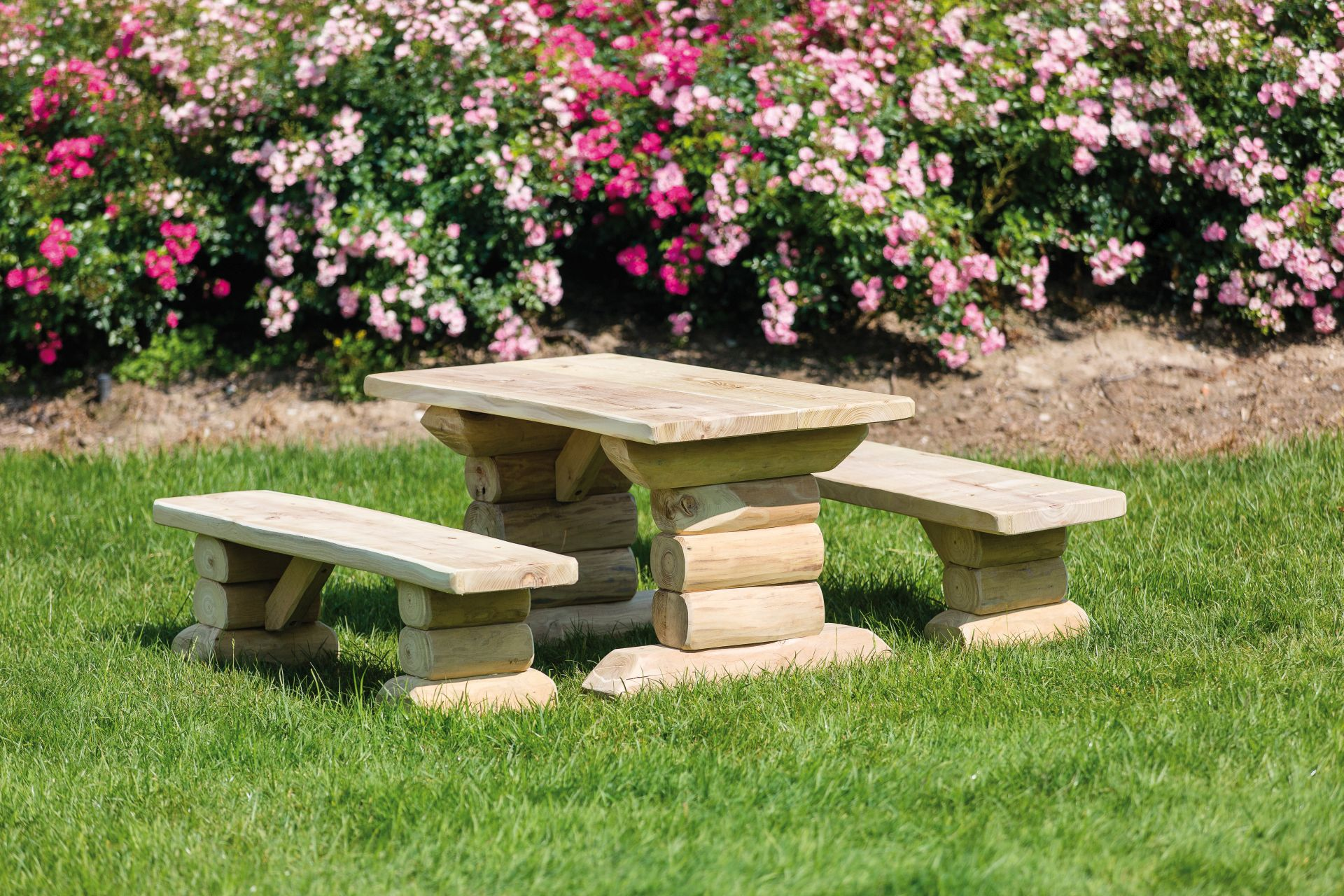 Holzhof COUNTRY (FACILITIES IN ROBINIA WOOD) Table and benches in robinia without backrest cm 125