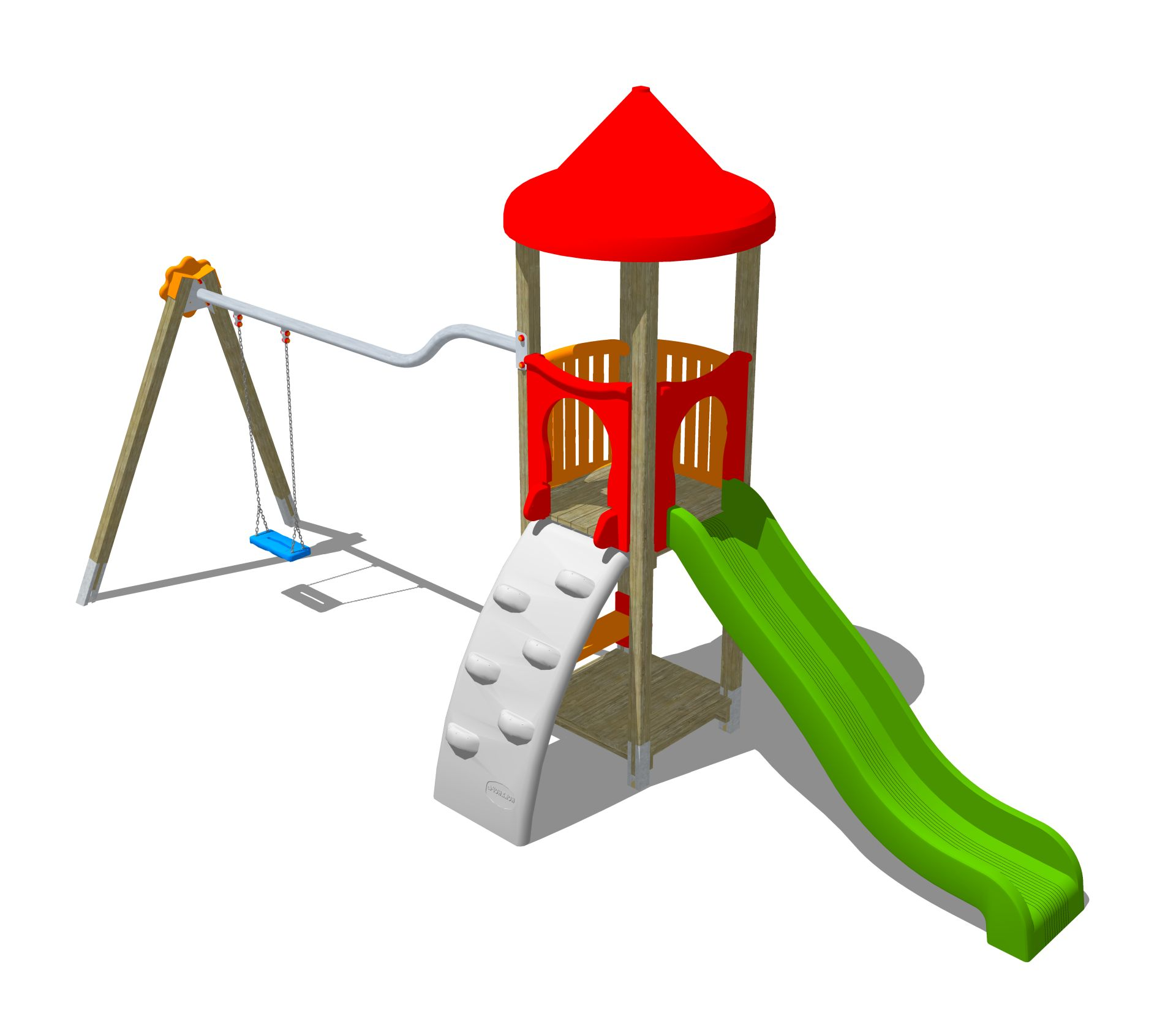 Holzhof ALADIN Aladin tower, slide h 144, polyethylene ramp + swing 1 palm shape seat