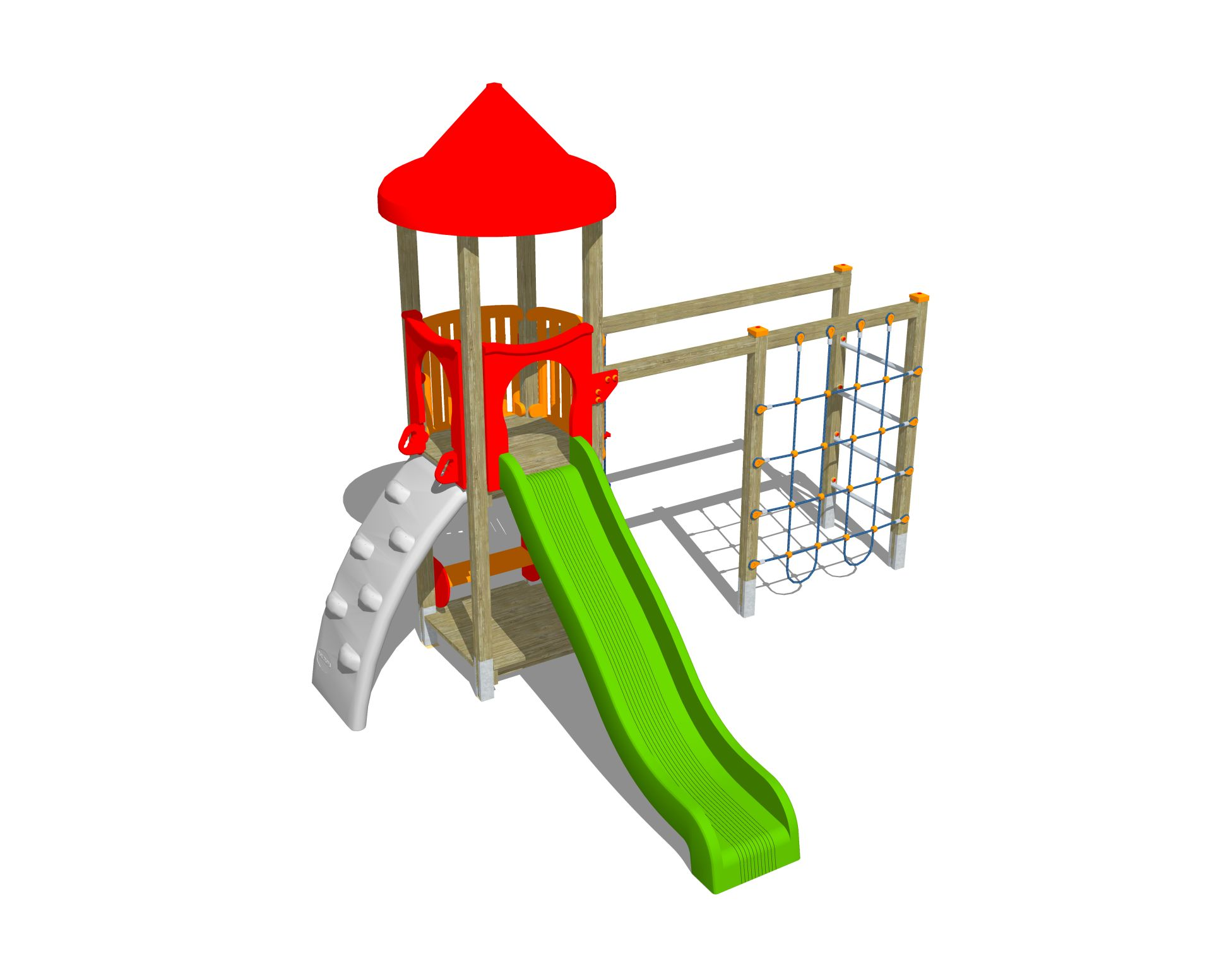 Holzhof ALADIN Aladin tower, slide h 144, polyethylene ramp + rope wall climber