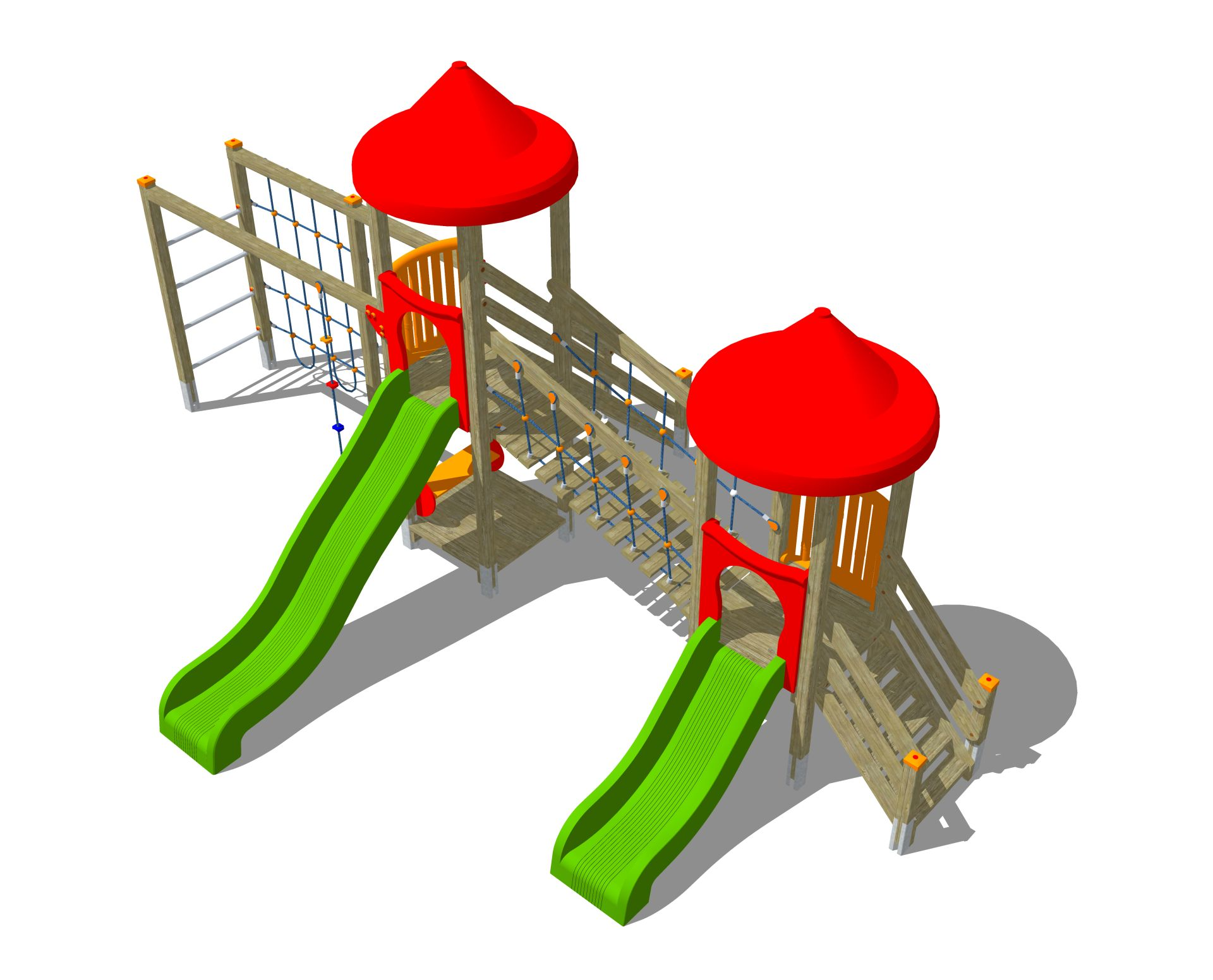 Holzhof ALADIN Aladin 2 towers with stairway h 84 + 144, slides h 84 + 144 + bridge + rope wall climber