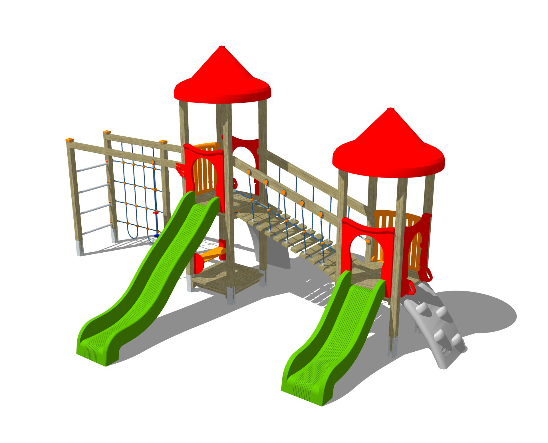 Holzhof ALADIN Aladin 2 towers with ramps h 84 + 144, slides h 84 + 144 + bridge + rope wall climber