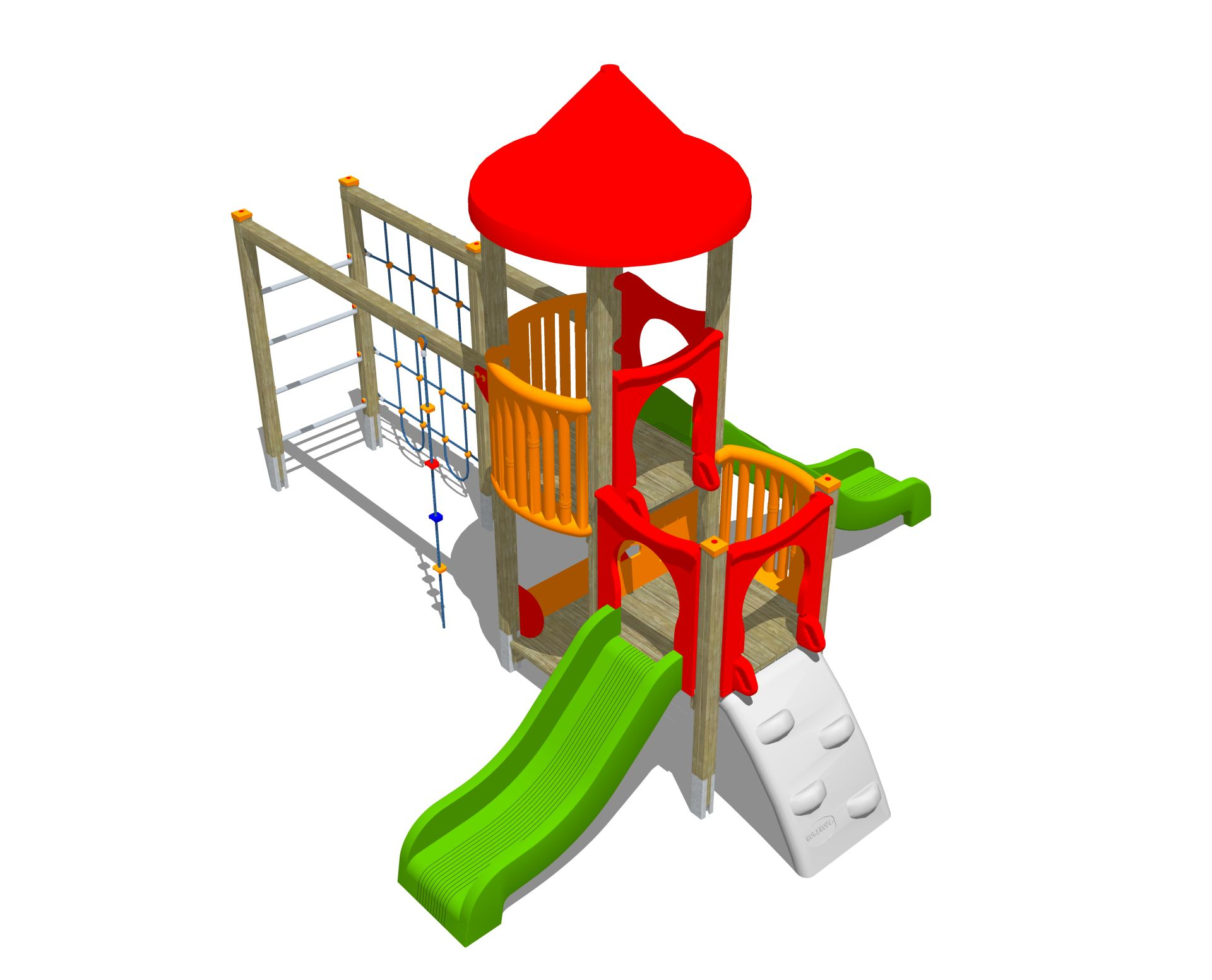 Holzhof ALADIN Aladin 2 towers with ramp h 84, slides h 84 + 144 + rope wall climber
