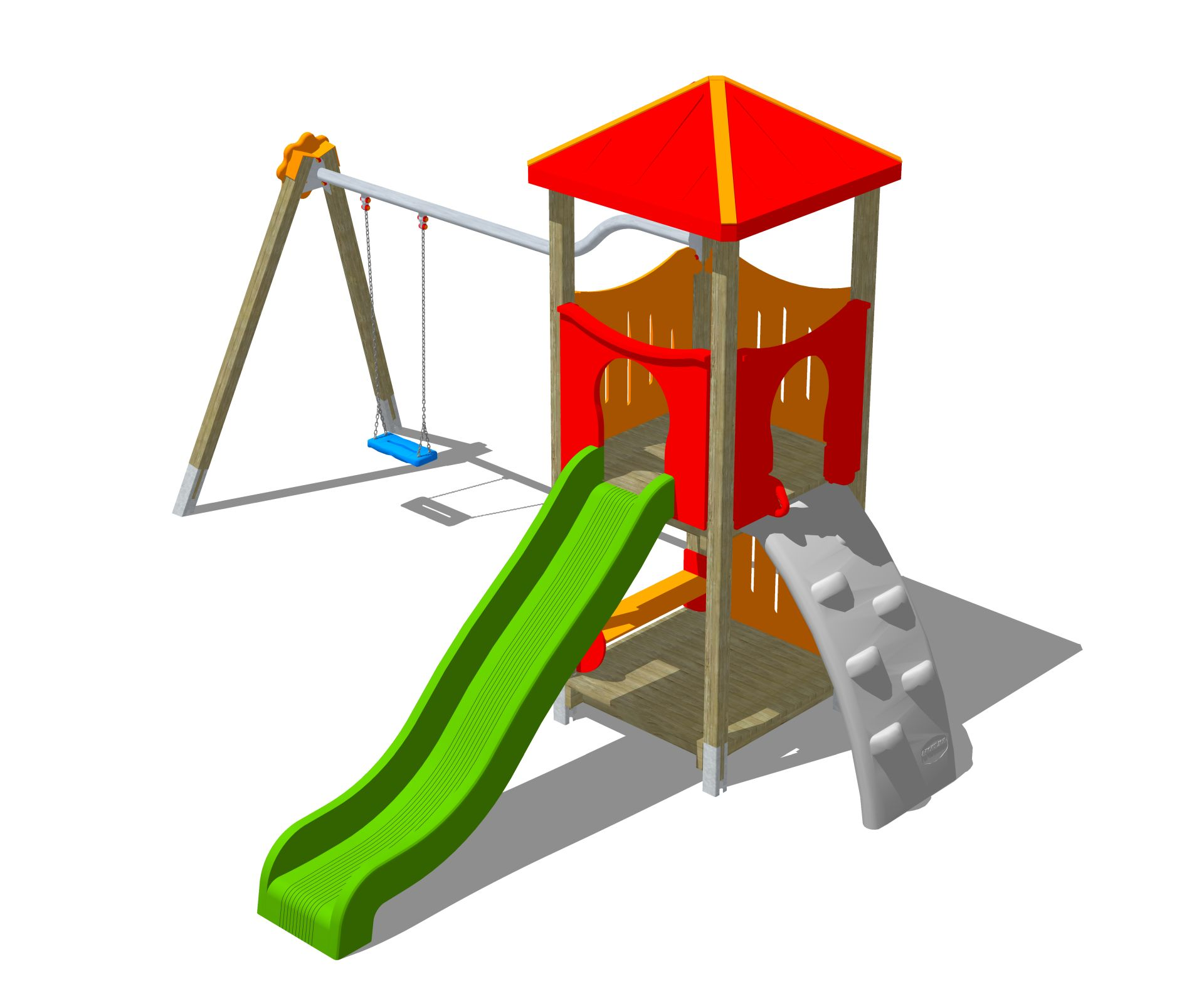 Holzhof MAX & SULTAN Max 1 tower, slide h 144, polyethylene ramp + swing 1 palm shape seat