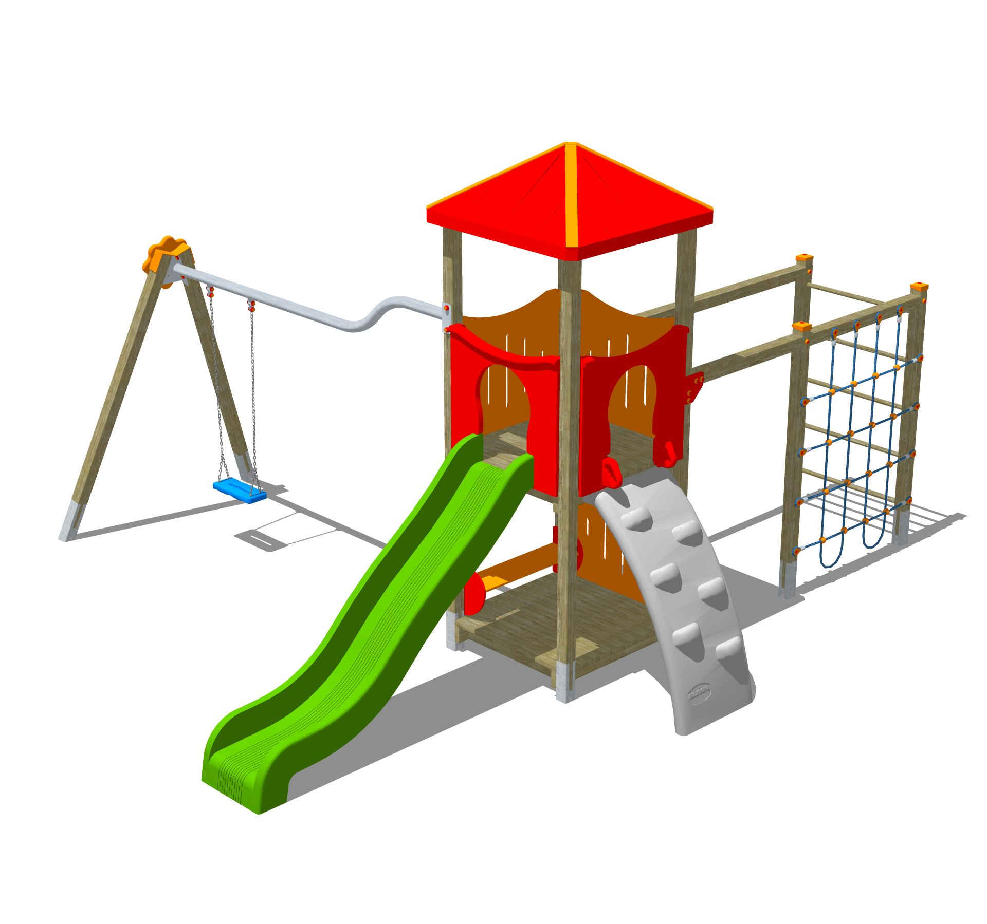 Holzhof MAX & SULTAN Max 1 tower, slide h 144, polyethylene ramp + swing 1 palm shape seat + rope wall climber