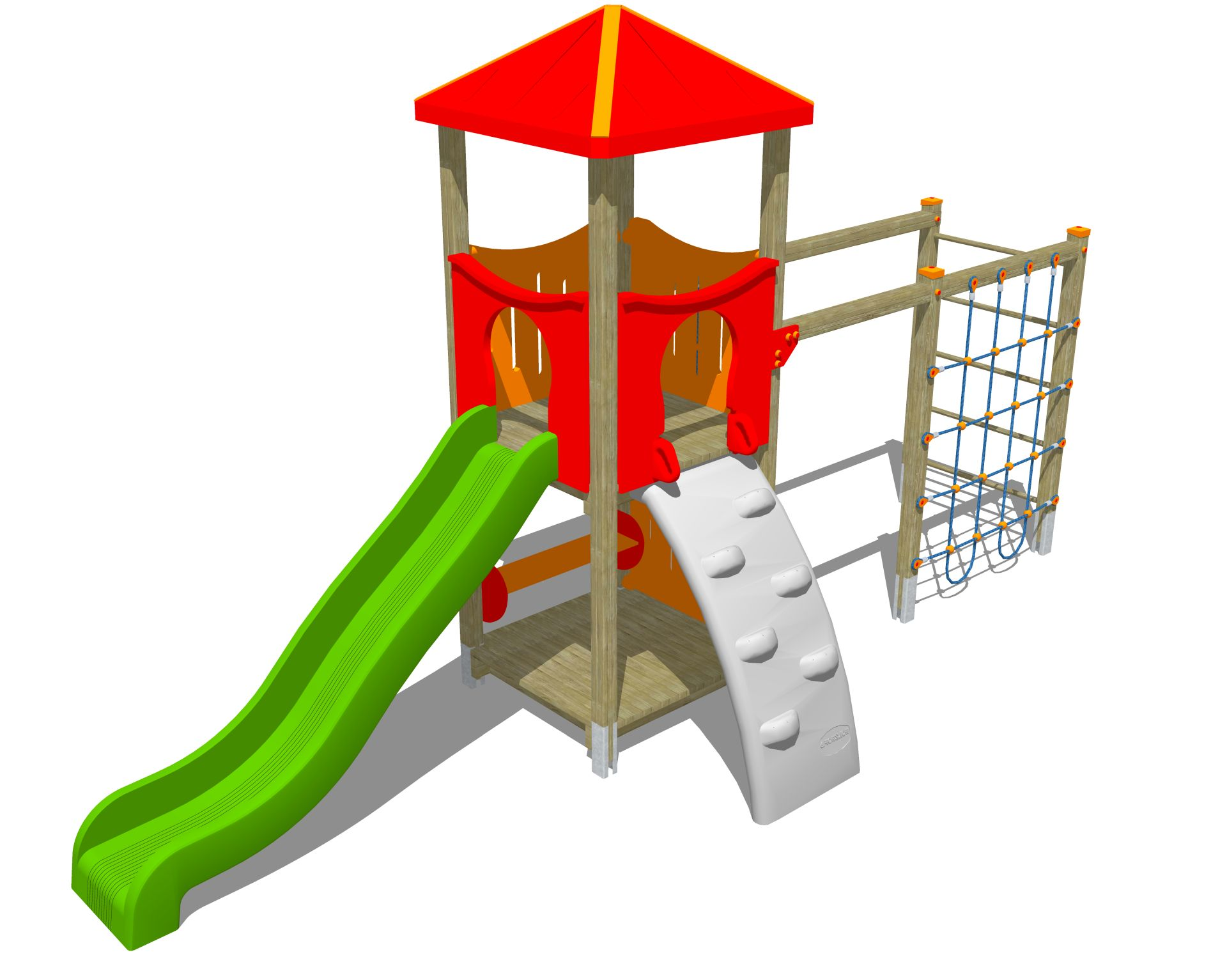 Holzhof MAX & SULTAN Max 1 tower, slide h 144, polyethylene ramp + rope wall climber