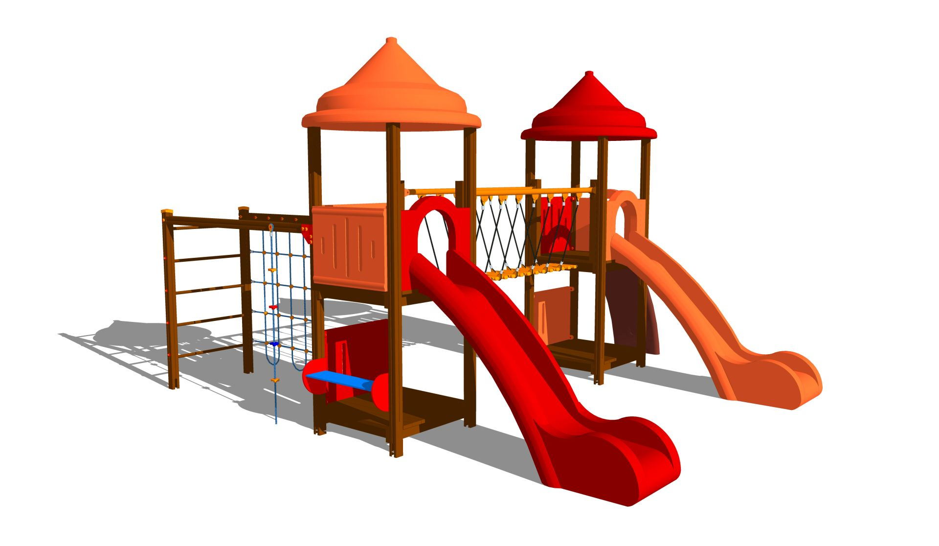 Holzhof MAX & SULTAN Max 2 towers, 2 polyethylene slides h 144, stairway + rope wall climber