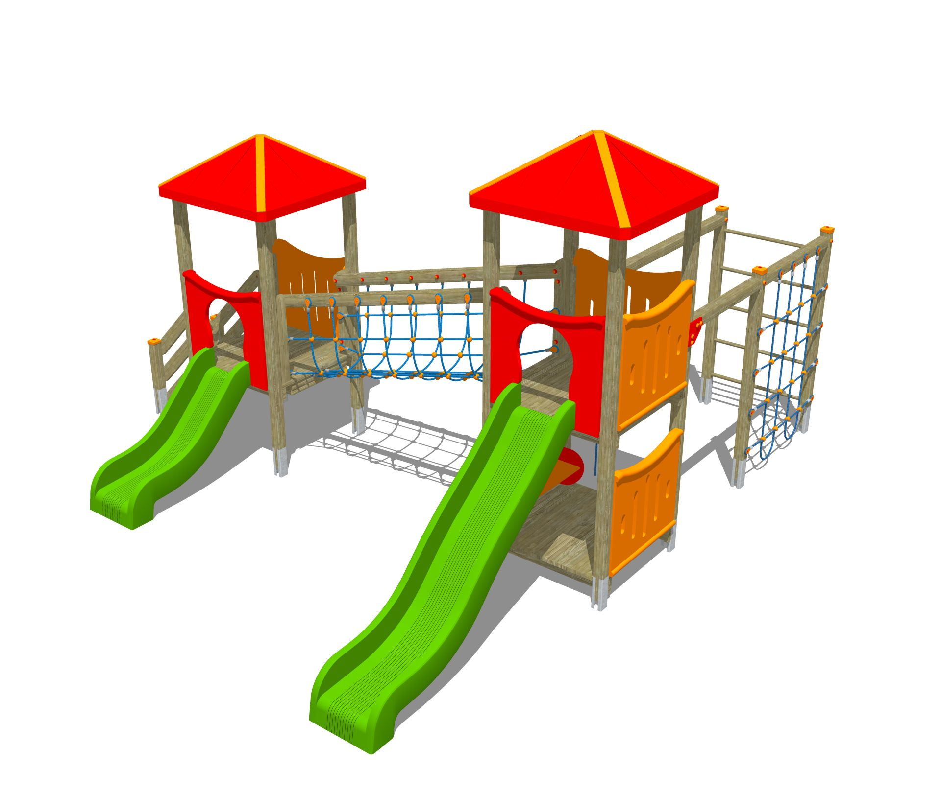 Holzhof MAX & SULTAN Max 2 towers, 1 polyethylene slide h 84 + 1 h 144, stairway + rope wall climber