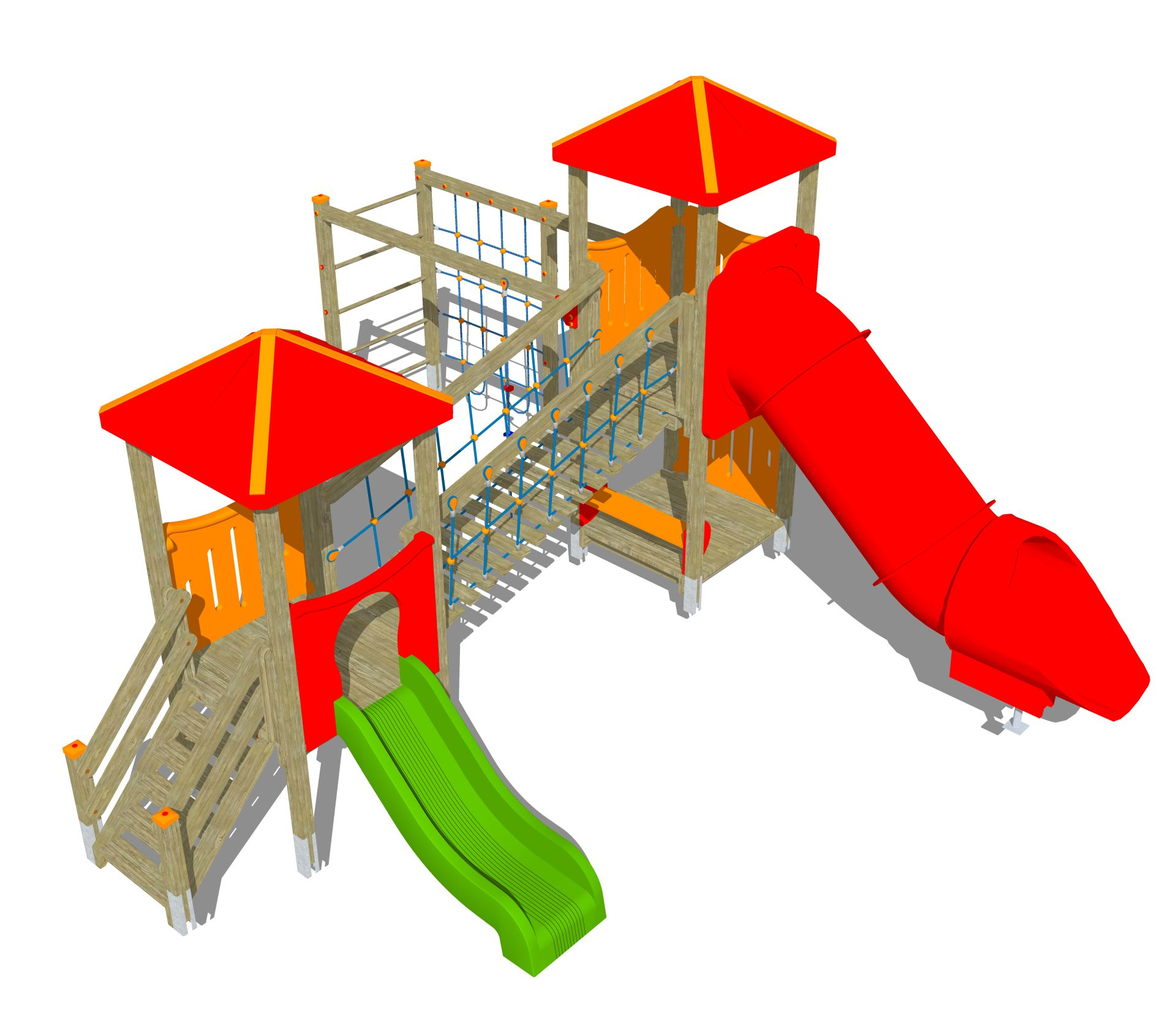 Holzhof MAX & SULTAN Max 2 towers, 1 polyethylene slide h 84 + 1 tubular h 144 + stairway + rope wall climber + bridge
