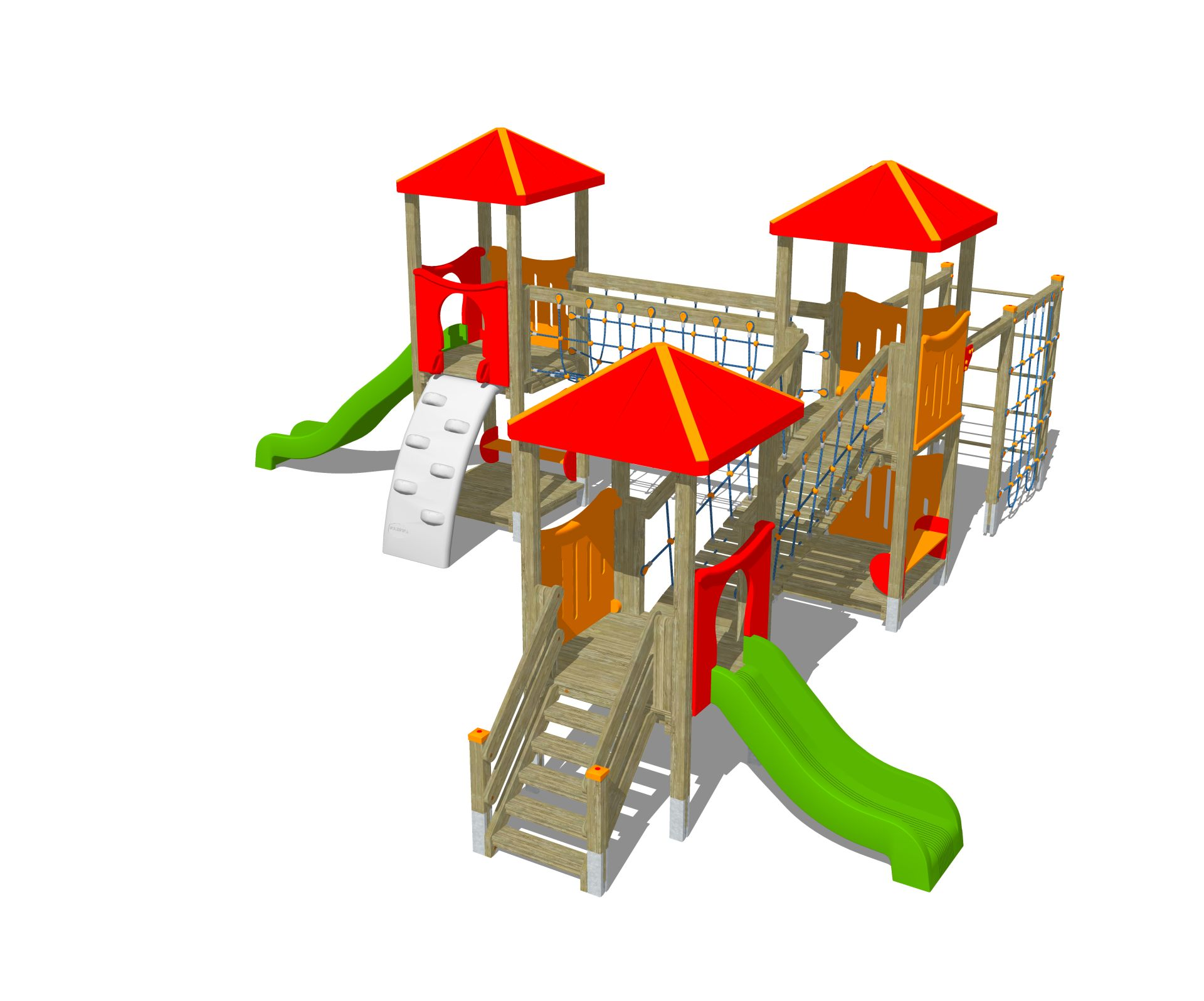 Holzhof MAX & SULTAN Max 3 towers, 1 polyethylene slide h 84 + 1 h 144, shroud + rope wall climber