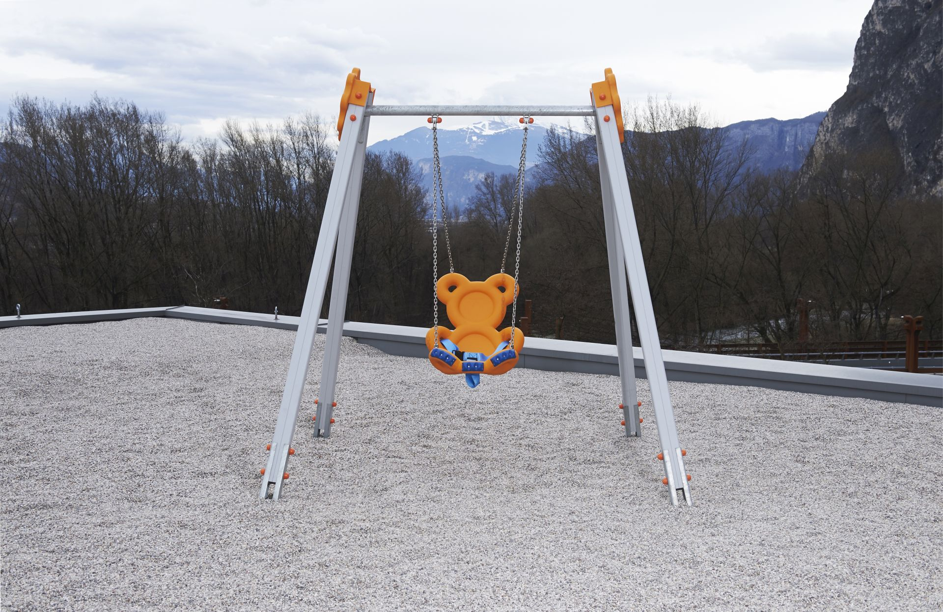 Holzhof SWINGS Oxi swing with teddy - metal beam with decoration (flower)
