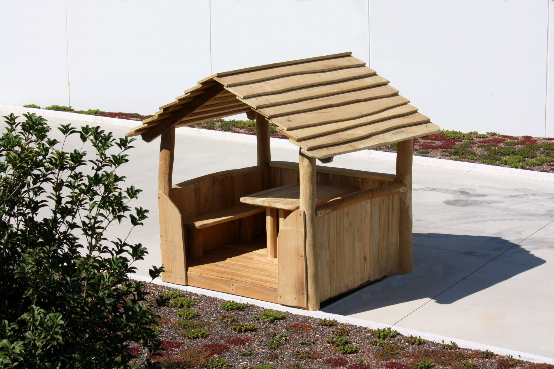 Holzhof COUNTRY (FACILITIES IN ROBINIA WOOD) Playhouse in robinia, natural timber colour
