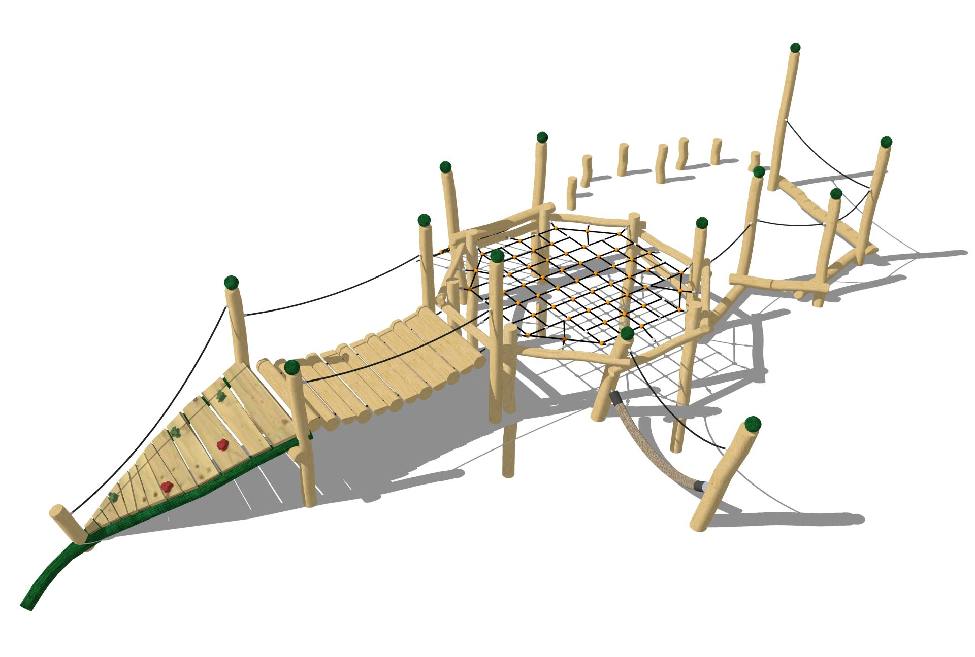 Holzhof COUNTRY (FACILITIES IN ROBINIA WOOD) Gym structure for parkour in robinia and ropes