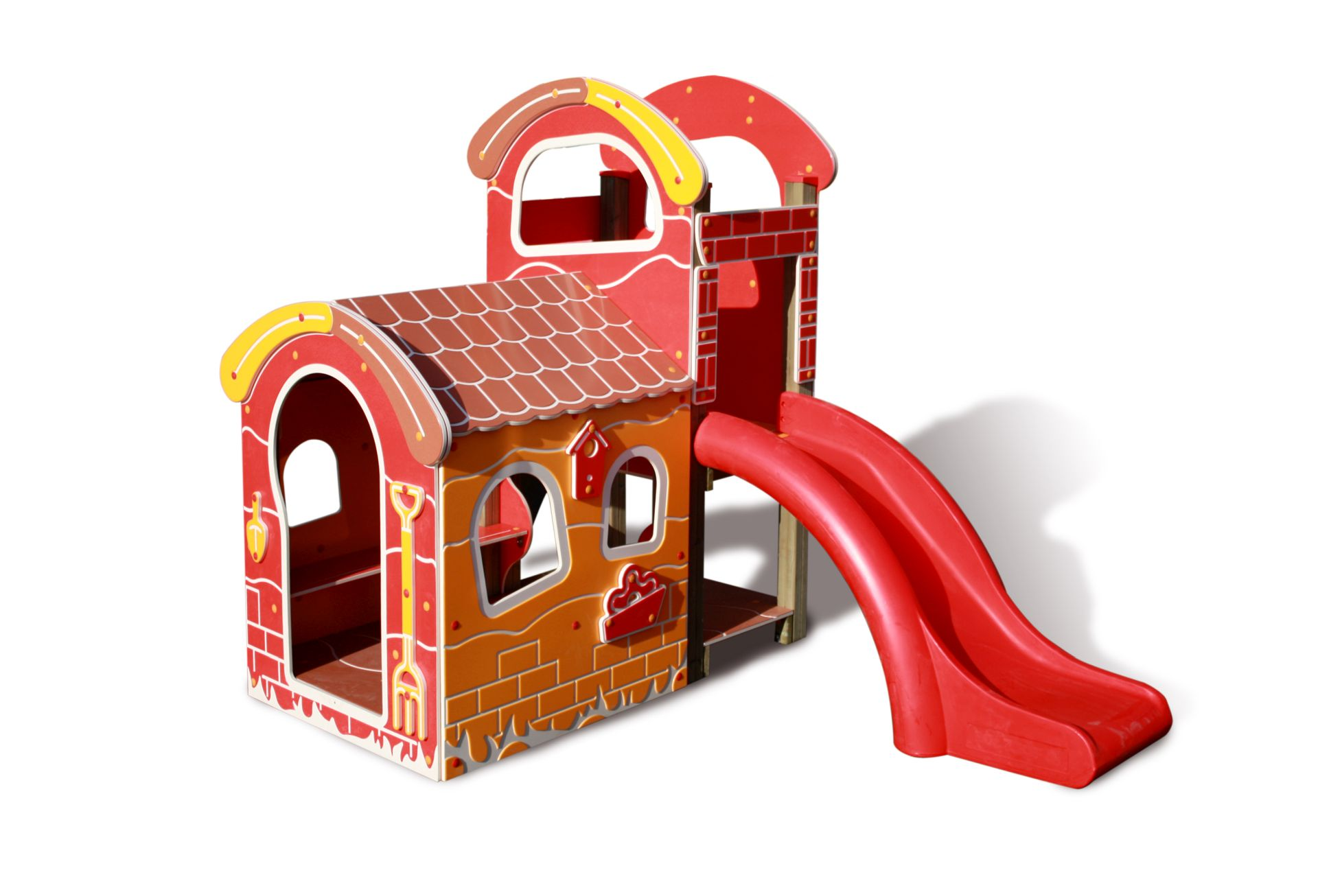 Holzhof TOT HOUSE Cottage playhouse in wood with polyethylene slide and ramp, h 84, new roof and new decorations