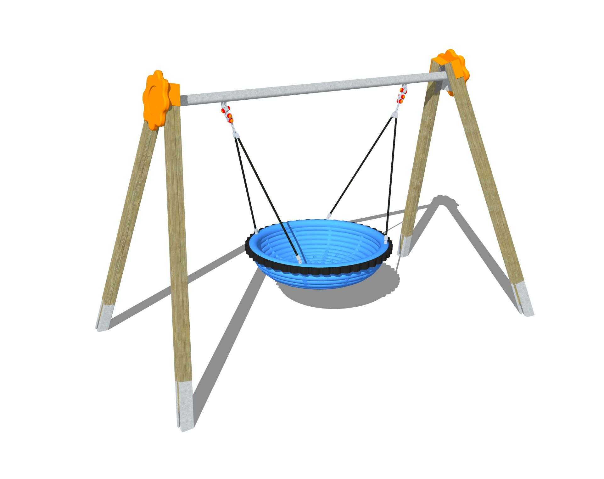 Holzhof SWINGS Sultan wooden swing, Bam Bou polyethylene nest basket - metal beam with polyethylene decor.