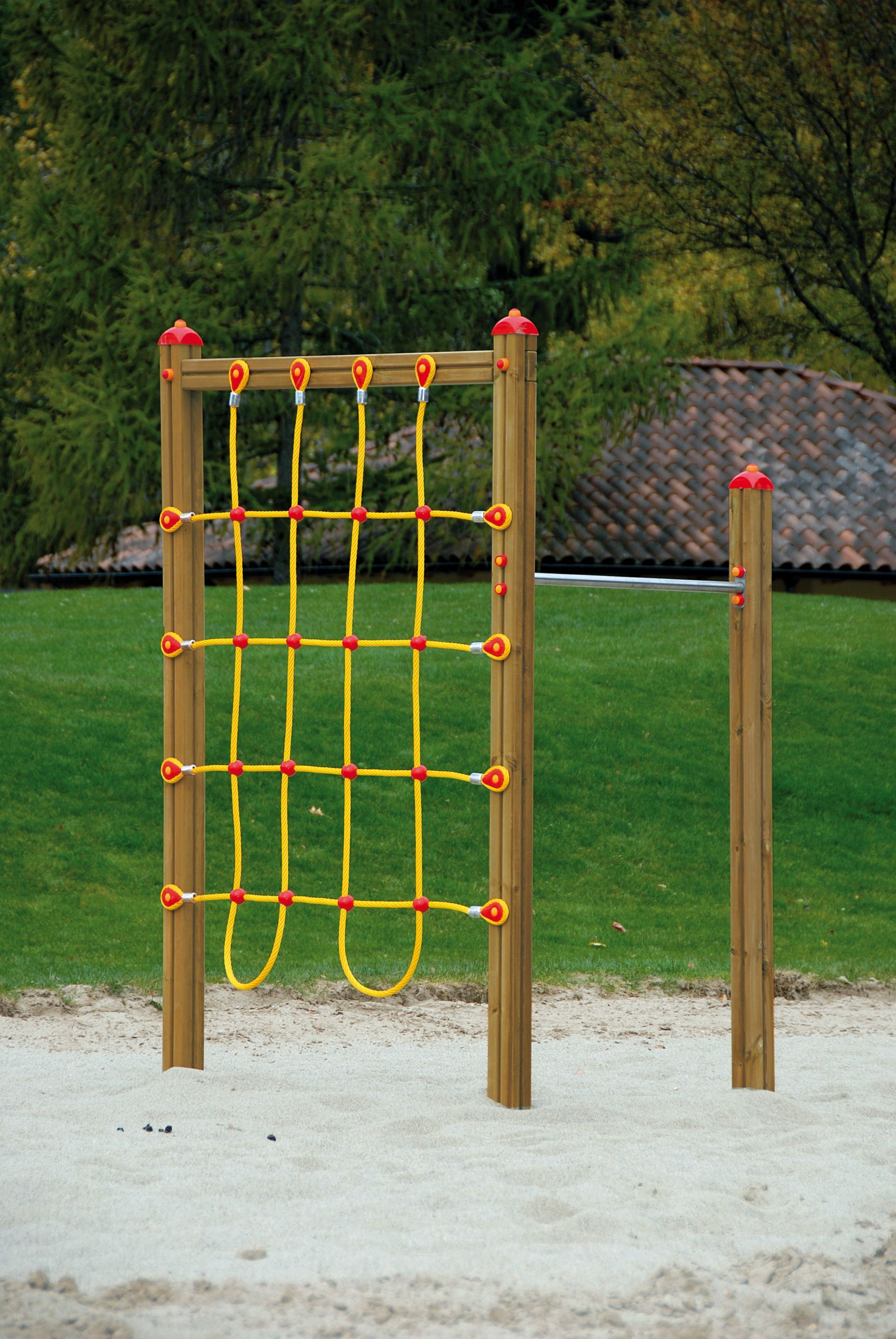 Holzhof CLIMBING STRUCTURES Corner excercise structure with nets + 1 hanging bar